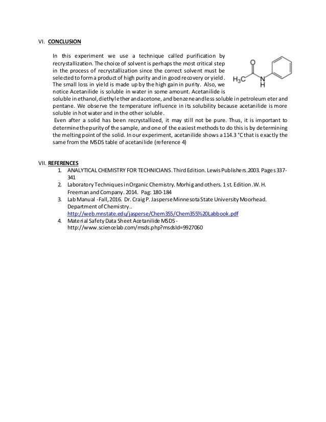 purifying acetanilide by recrystallization