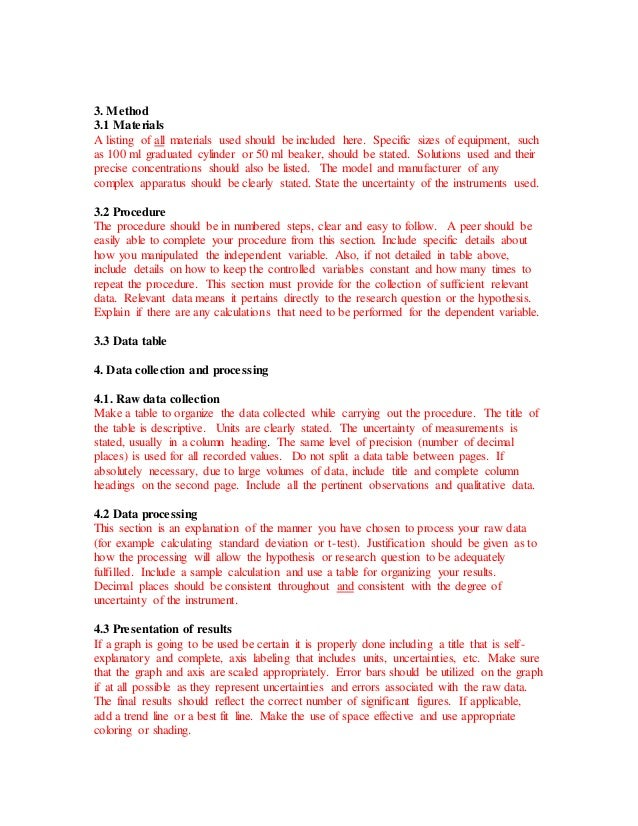 science lab report example
