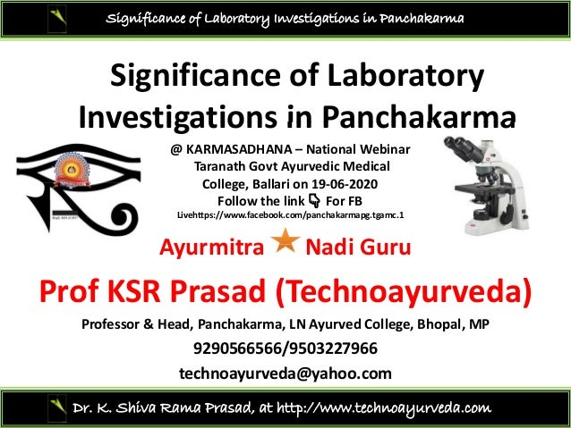 Significance of Laboratory Investigations in Panchakarma SignificanceofLaboratory Investigations in PanchakarmaInvestig...