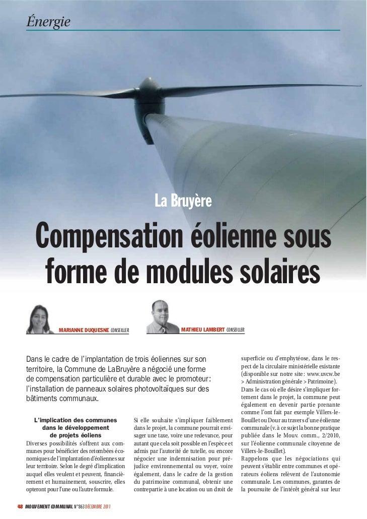 Énergie                                                            La Bruyère       Compensation éolienne sous        form...
