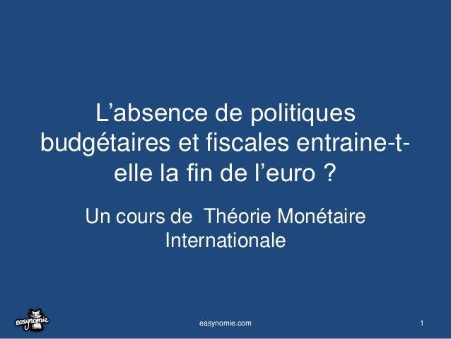 L'absence de politiques budgétaires et fiscales entraine-telle la fin de l'euro ? Un cours de Théorie Monétaire Internatio...