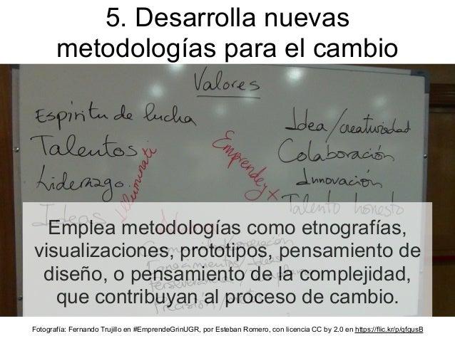 Emplea metodologías como etnografías, visualizaciones, prototipos, pensamiento de diseño, o pensamiento de la complejidad,...