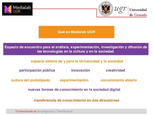 Vicerrectorado de Investigación y Transferencia Líneas estratégicas 1 2 3 Proyectos y acciones • Explorar y promover el Di...