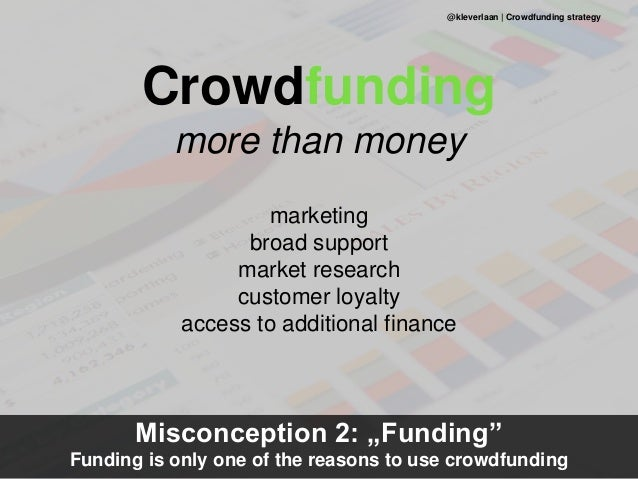 Crowdfunding more than money marketing broad support market research customer loyalty access to additional finance Misconc...