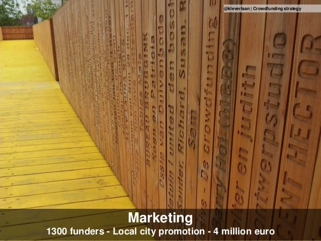 Marketing 1300 funders - Local city promotion - 4 million euro @kleverlaan | Crowdfunding strategy