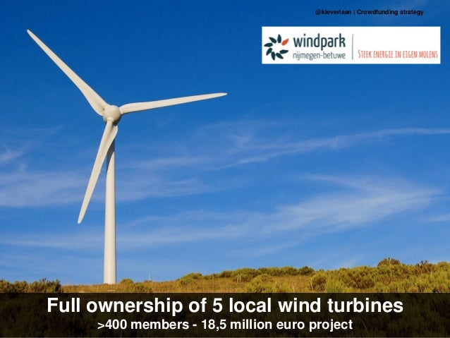 Full ownership of 5 local wind turbines >400 members - 18,5 million euro project @kleverlaan | Crowdfunding strategy