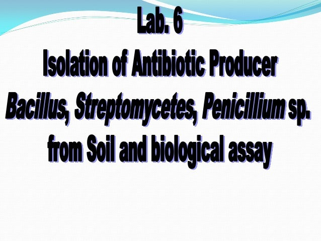  Subject objective: Each student should be able to  To isolate antibiotic-producing microorganisms (Bacillus, Penicilliu...