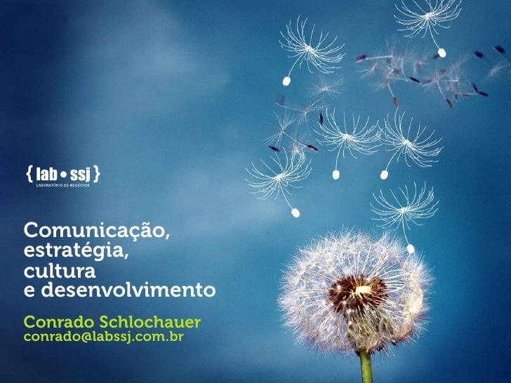 Comunicação, estratégia, cultura e desenvolvimento Conrado Schlochauer conrado@labssj.com.br