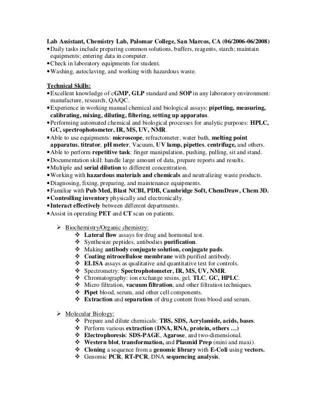 lab assistant - Lab Tech Resume