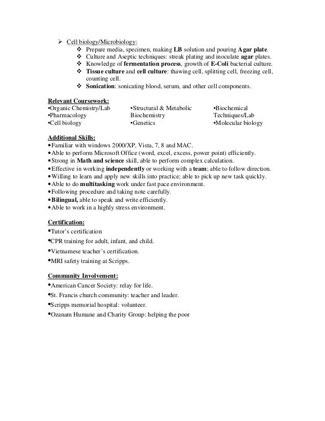 Cover Letter For Microbiologist Fresher