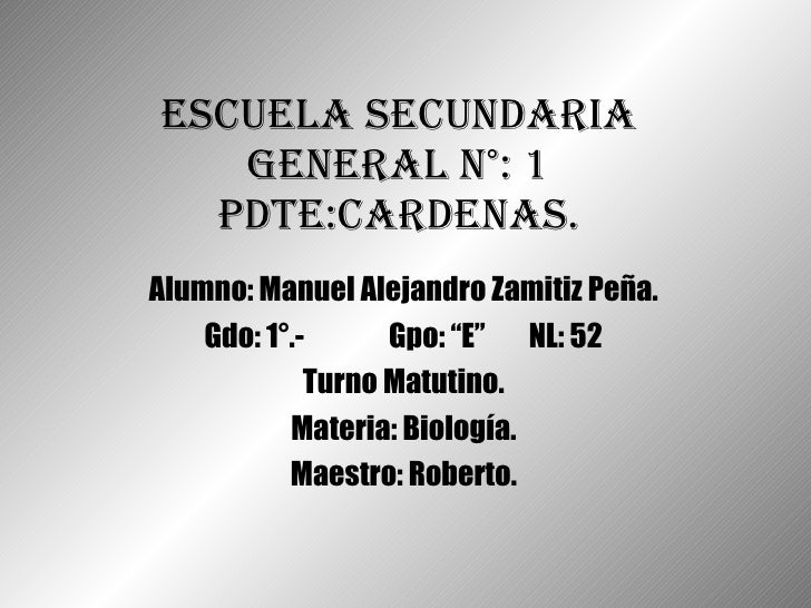 "Escuela Secundaria General N°: 1 Pdte:Cardenas. Alumno: Manuel Alejandro Zamitiz Peña. Gdo: 1°.-   Gpo: ""E"" NL: 52 Turno M..."