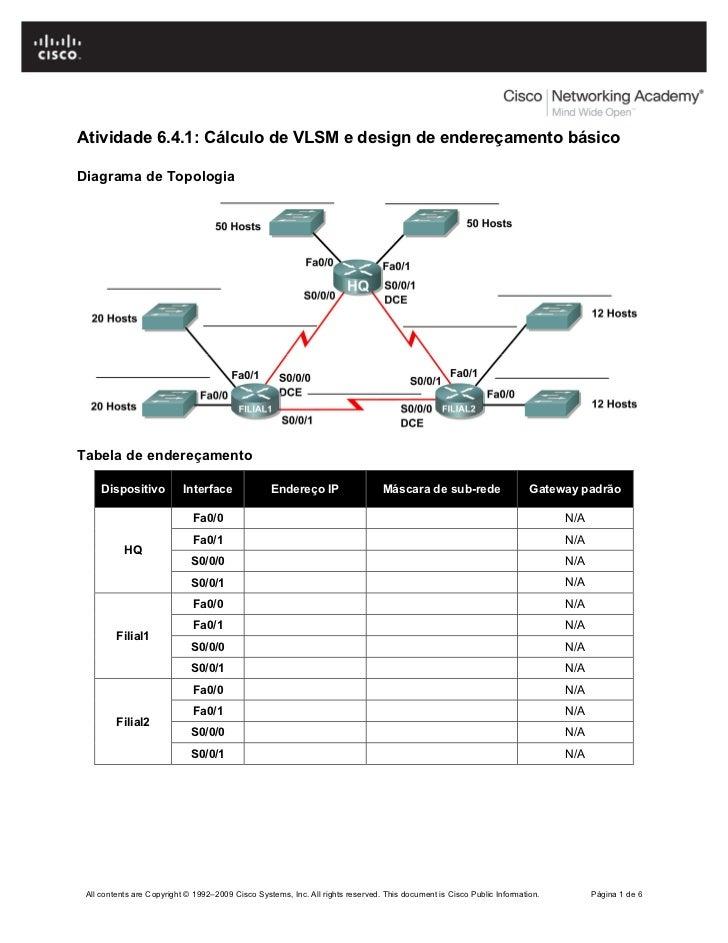 Atividade 6.4.1: Cálculo de VLSM e design de endereçamento básicoDiagrama de TopologiaTabela de endereçamento     Disposit...