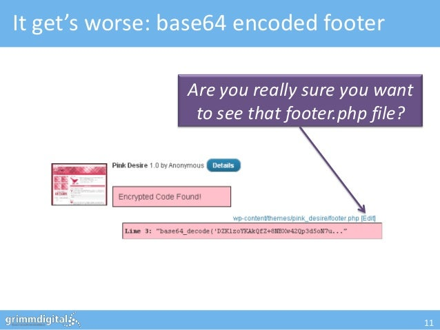 It get's worse: base64 encoded footer                 Are you really sure you want                  to see that footer.php...