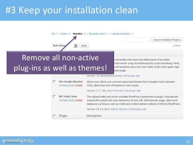 #3 Keep your installation clean   Remove all non-active plug-ins as well as themes!                                  15