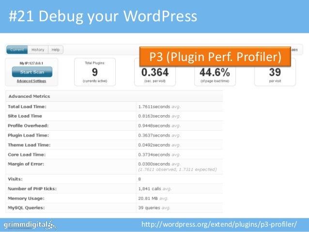 #21 Debug your WordPress                  P3 (Plugin Perf. Profiler)                http://wordpress.org/extend/plugins/p3...
