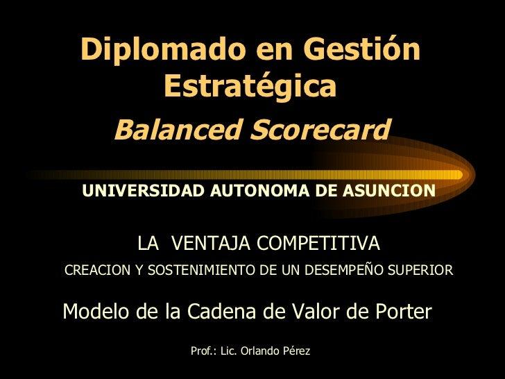 Prof.: Lic. Orlando Pérez Modelo de la Cadena de Valor de Porter  LA  VENTAJA COMPETITIVA CREACION Y SOSTENIMIENTO DE UN D...
