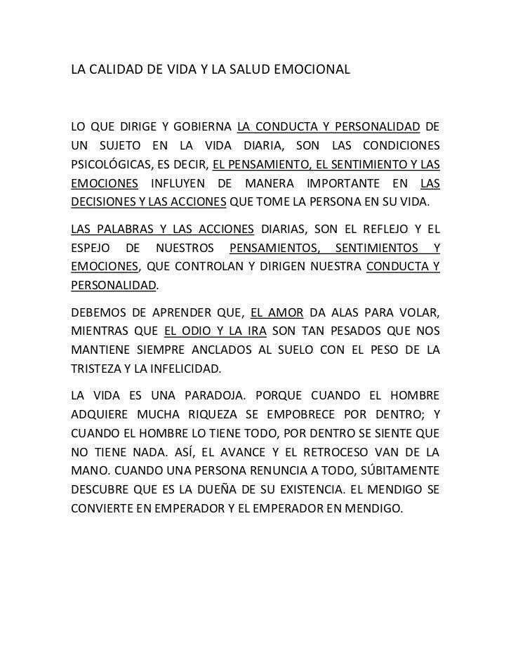 LA CALIDAD DE VIDA Y LA SALUD EMOCIONALLO QUE DIRIGE Y GOBIERNA LA CONDUCTA Y PERSONALIDAD DEUN SUJETO EN LA VIDA DIARIA, ...
