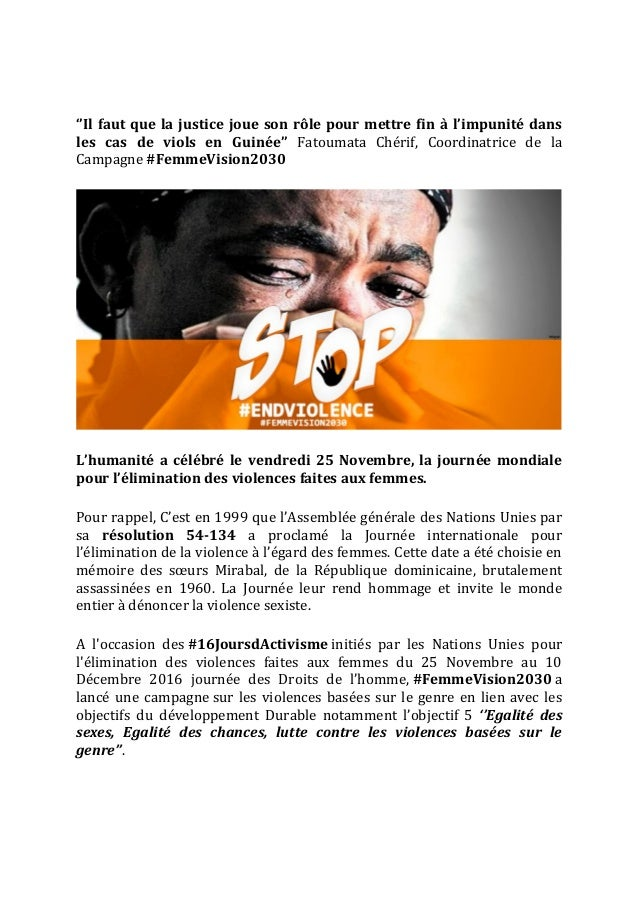 ''Il faut que la justice joue son rôle pour mettre fin à l'impunité dans les cas de viols en Guinée'' Fatoumata Chérif, Co...