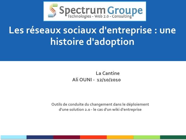 Les réseaux sociaux d'entreprise : une histoire d'adoption La Cantine  Ali OUNI -  12/10/2010 Outils de conduite du change...