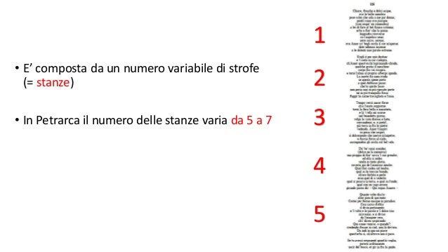 • E' composta da un numero variabile di strofe (= stanze) • In Petrarca il numero delle stanze varia da 5 a 7 1 2 3 4 5