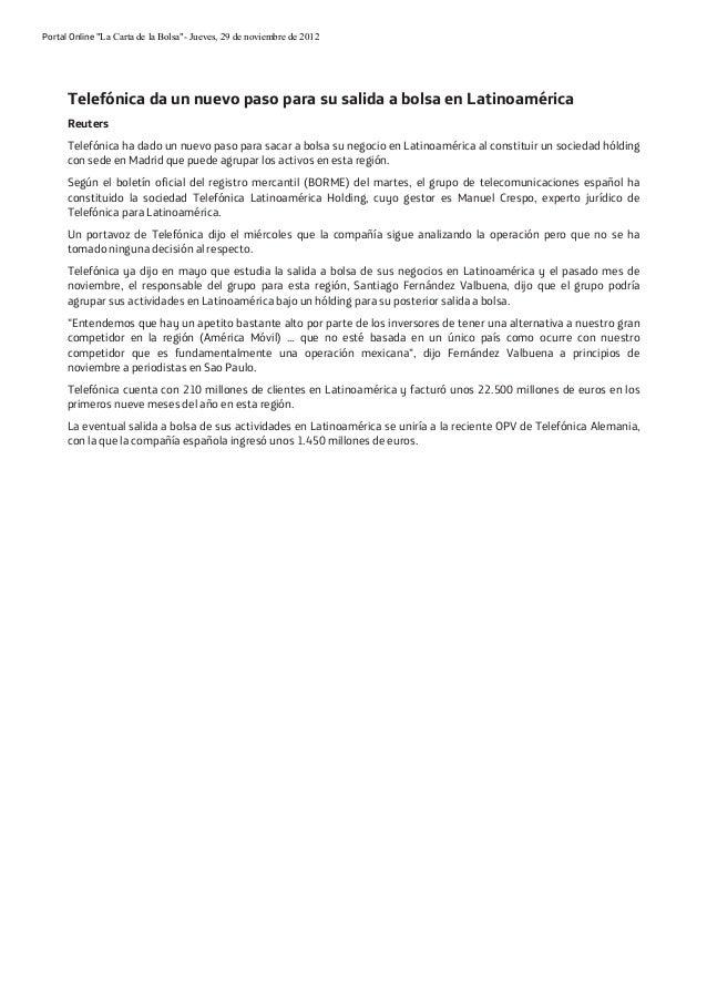 """Portal Online """"La Carta de la Bolsa""""- Jueves, 29 de noviembre de 2012  Telefónica da un nuevo paso para su salida a bolsa ..."""