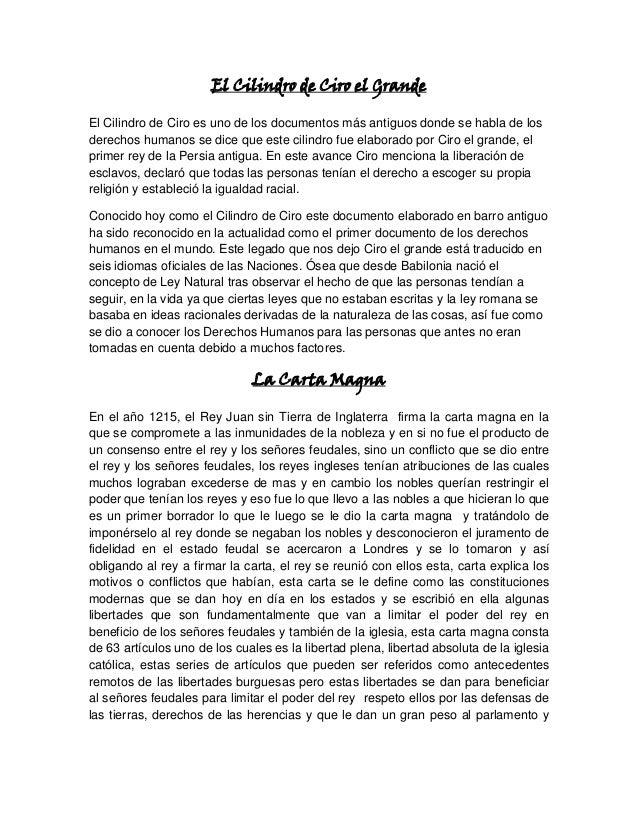 El Cilindro de Ciro el Grande El Cilindro de Ciro es uno de los documentos más antiguos donde se habla de los derechos hum...