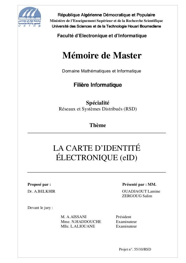 République Algérienne Démocratique et Populaire              Ministère de l'Enseignement Supérieur et de la Recherche Scie...