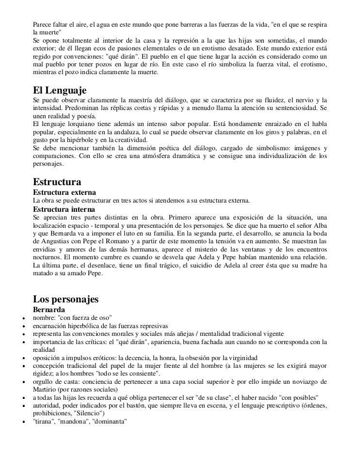 La Casa Es Muy Bonita Y Grande World Mediterranean: La Casa De Bernarda Alba Analisis De Personajes Y Situación