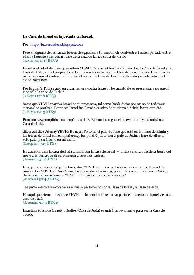 La Casa de Israel es injertada en Israel.Por: http://luzverdadera.blogspot.comPero si algunas de las ramas fueron desgajad...