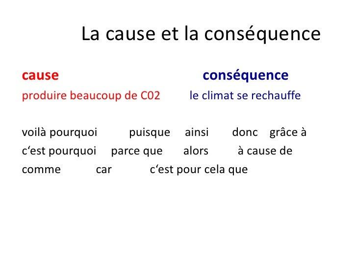 La cause et la conséquence<br />cause  conséquence<br />produire beaucoup de C02le climat se rechauffe<br />voilà pourquoi...