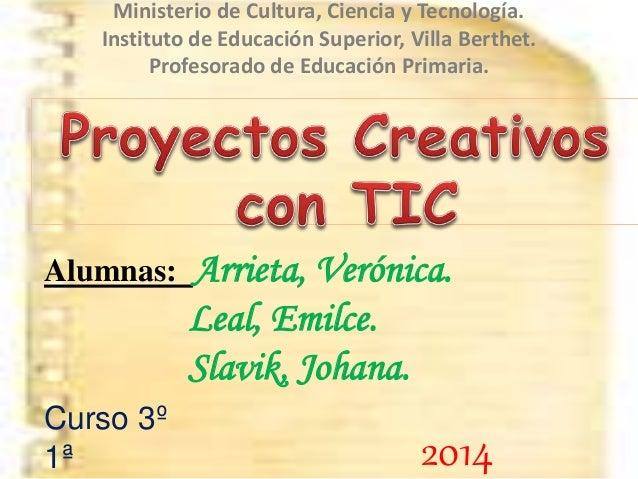 Ministerio de Cultura, Ciencia y Tecnología. Instituto de Educación Superior, Villa Berthet. Profesorado de Educación Prim...