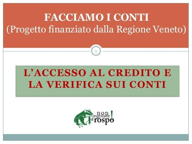 L'ACCESSO AL CREDITO E LA VERIFICA SUI CONTI FACCIAMO I CONTI (Progetto finanziato dalla Regione Veneto) 1