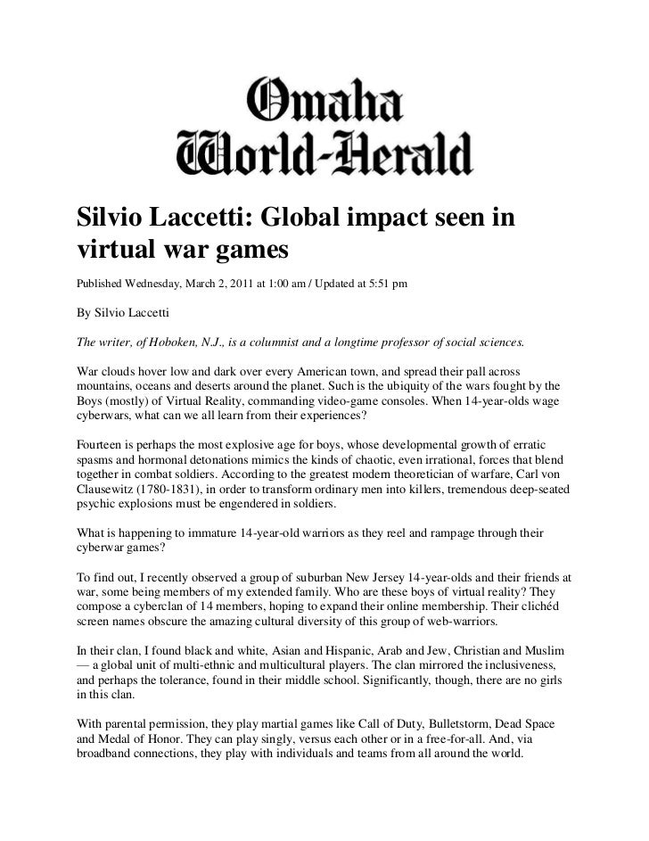 Silvio Laccetti: Global impact seen invirtual war gamesPublished Wednesday, March 2, 2011 at 1:00 am / Updated at 5:51 pmB...