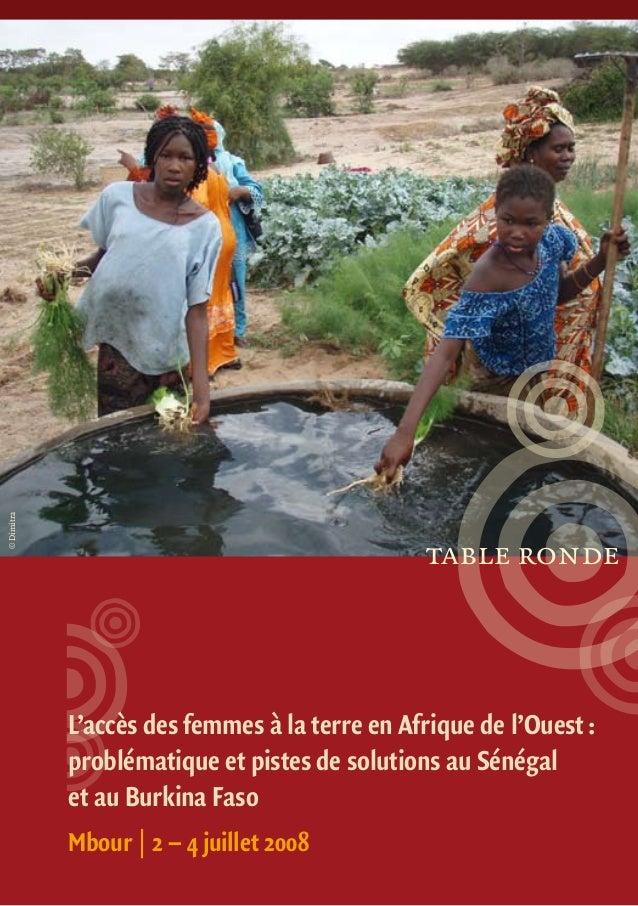 L'accès des femmes à la terre en Afrique de l'Ouest: problématique et pistes de solutions au Sénégal et au Burkina Faso M...