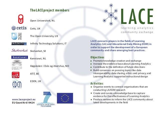TheLACEproject members Open Universiteit, NL Cetis, UK The Open University, UK Infinity Technology Solutions, IT Skolverket...