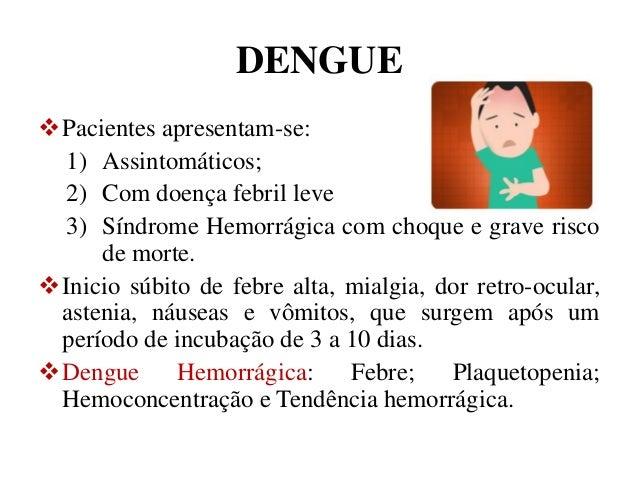 DENGUE Pacientes apresentam-se: 1) Assintomáticos; 2) Com doença febril leve 3) Síndrome Hemorrágica com choque e grave r...