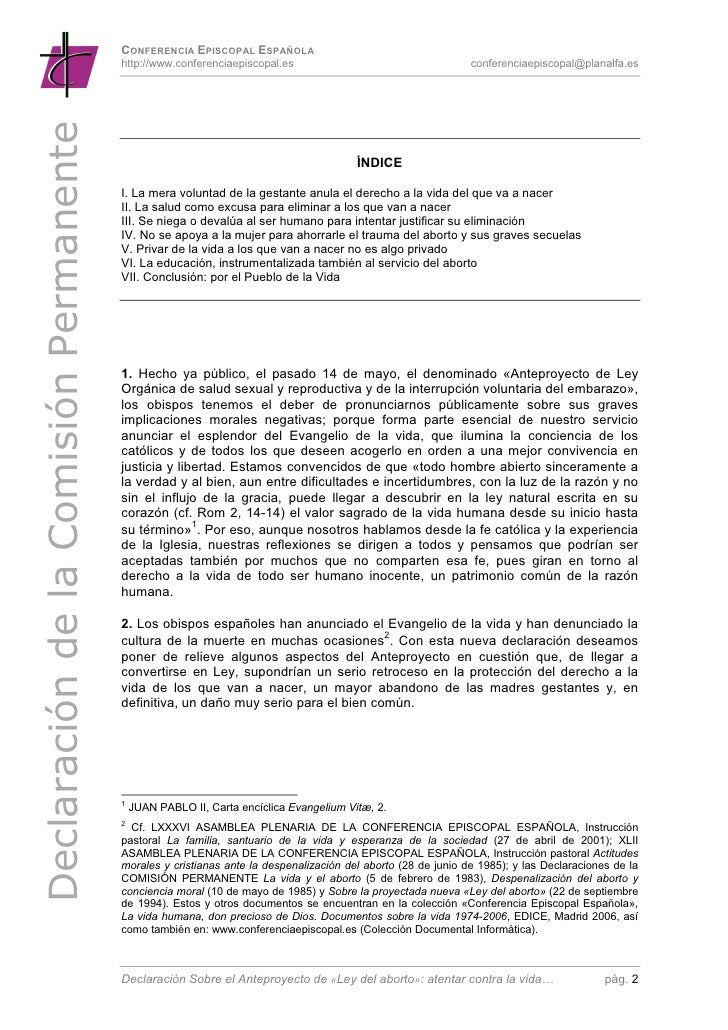 La CEE ante el Anteproyecto Ley Aborto Slide 2