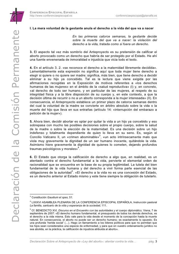 La CEE ante el Anteproyecto Ley Aborto Slide 3