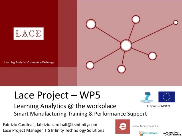 Learning Analytics Community Exchange  Lace Project – WP5 Learning Analytics @ the workplace  EU Grant Nr 619424  Smart Ma...