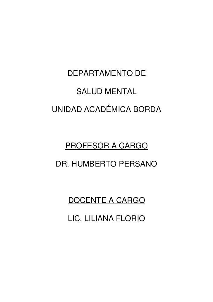 La Celebración, monografía para Salud Mental, UA Htal. Borda