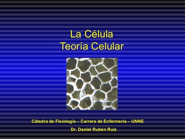 La Célula Teoría Celular Cátedra de Fisiología – Carrera de Enfermería – UNNE Dr. Daniel Rubén Ruiz