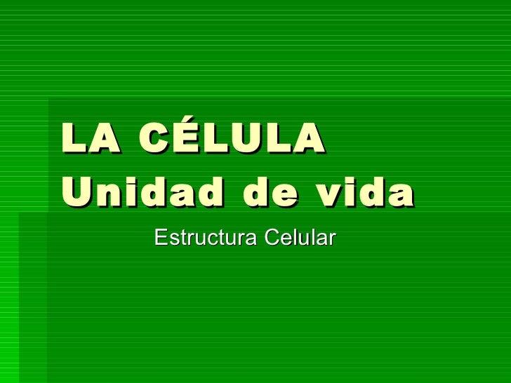LA CÉLULA Unidad de vida  Estructura Celular