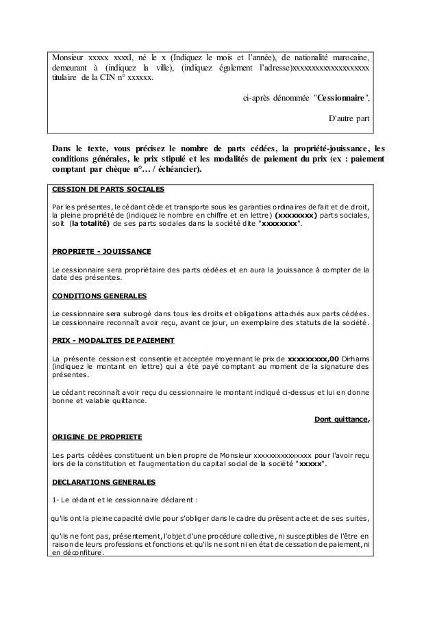 La cession de parts sociales en droit marocain - Report de paiement de 3 mois par cb ...