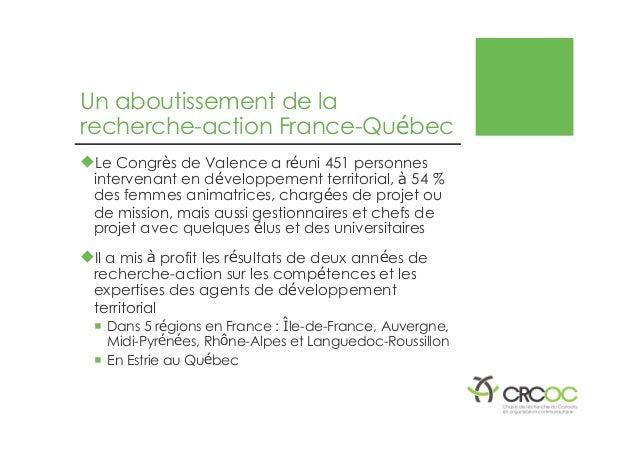Un aboutissement de la recherche-action France-Québec �Le Congrès de Valence a réuni 451 personnes intervenant en développ...