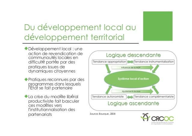 Du développement local au développement territorial �Développement local : une action de revendication de communautés loca...