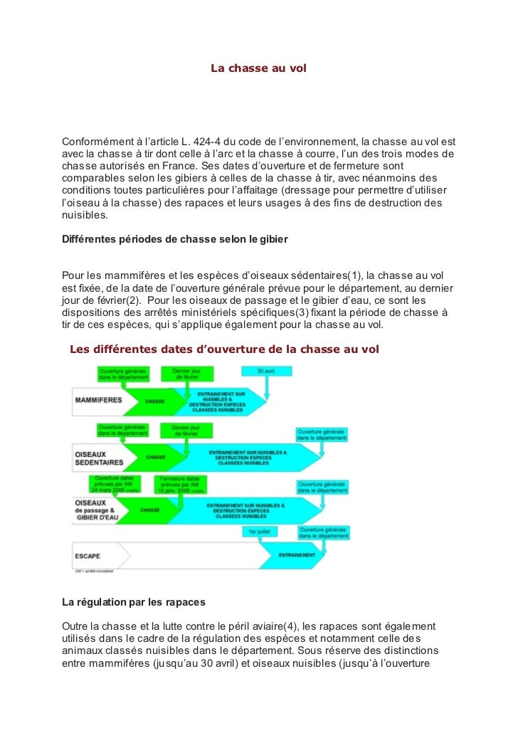 La chasse au volConformément à l'article L. 424-4 du code de l'environnement, la chasse au vol estavec la chasse à tir don...