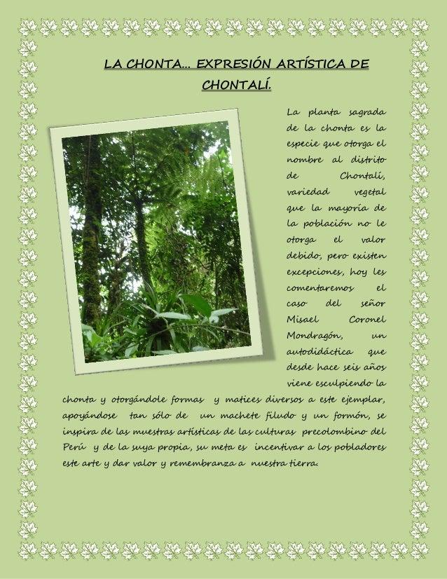 LA CHONTA… EXPRESIÓN ARTÍSTICA DE CHONTALÍ.  La planta sagrada de la chonta es la especie que otorga el nombre al distrito...