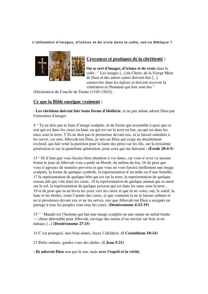 Lutilisation dimages, dicônes et de croix dans le culte, est-ce Biblique ?                                  Croyances et p...