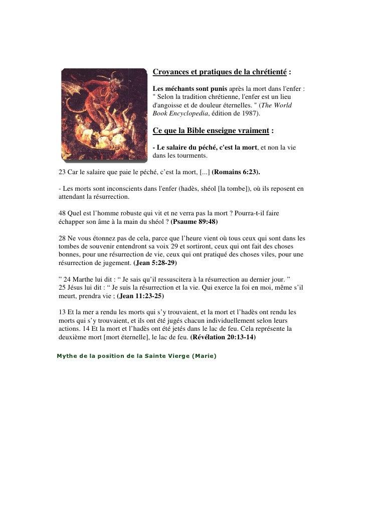Croyances et pratiques de la chrétienté :                                  Les méchants sont punis après la mort dans lenf...