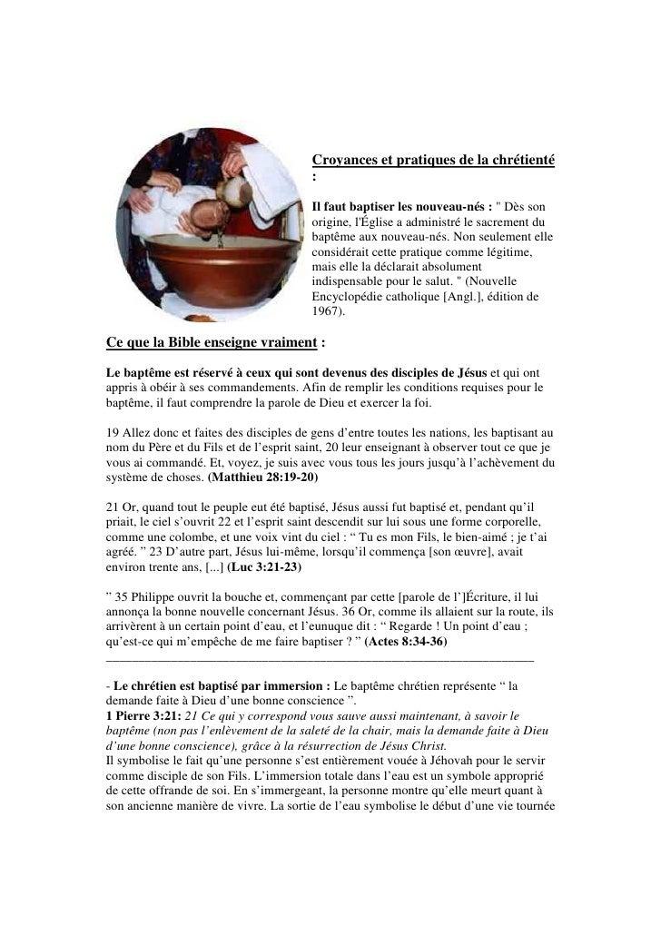 Croyances et pratiques de la chrétienté                                          :                                        ...